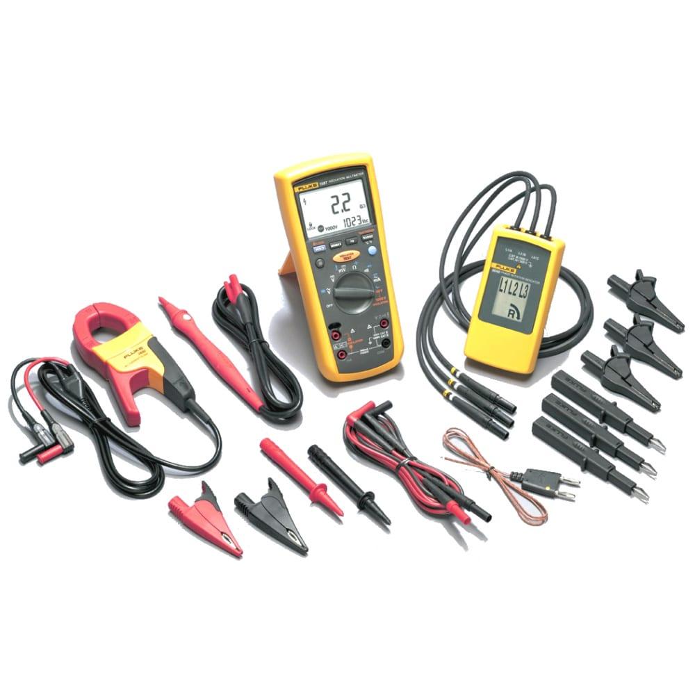 Комплект fluke мультиметр-мегомметр + токовые клещи + индикатор чередования фаз 1587/mdt fc  - купить со скидкой