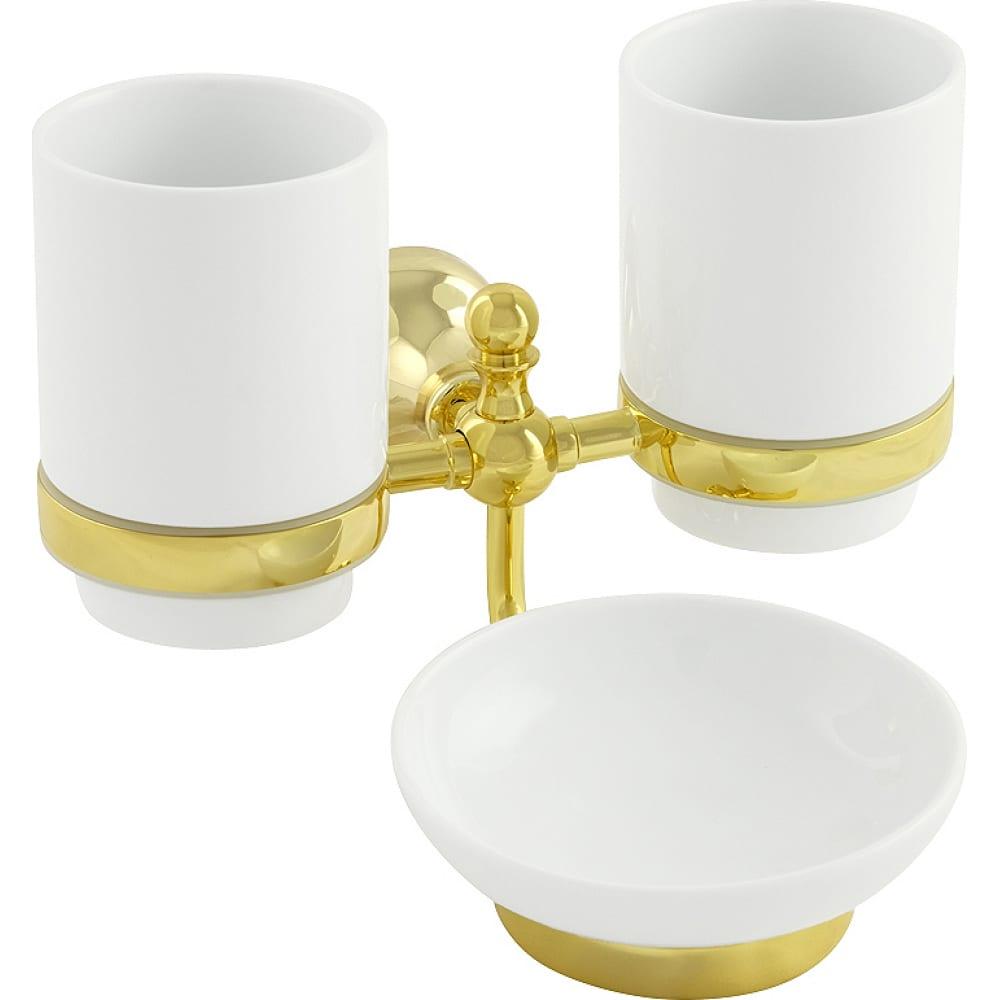 Купить Настенный стакан с мыльницей veragio gialetta двойной, керамика/золото vr.gil-6443.do