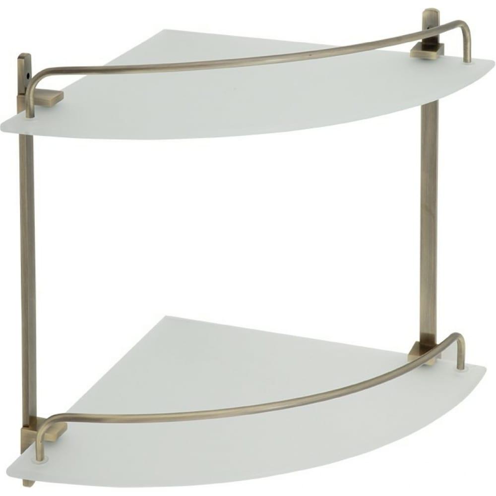 Купить Угловая полка veragio gifortes двойная 26х26xh30 см, стекло матовое, бронза vr.gft-9032.br