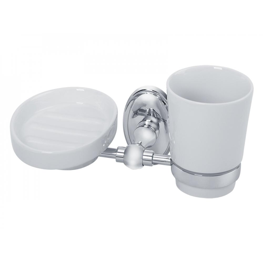 Настенный стакан с мыльницей veragio bonjour хром/керамика