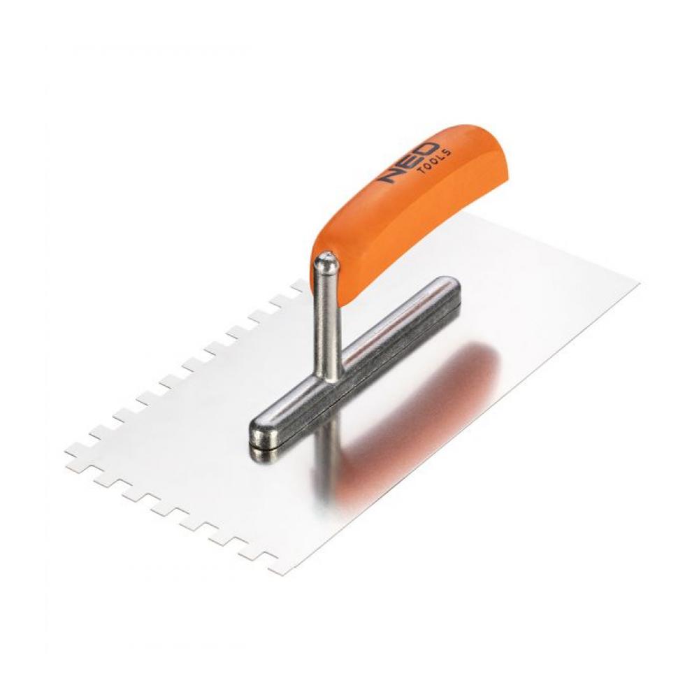 Зубчатая гладилка neo 270х128 мм зуб 8х8х8 мм деревянная ручка 50-163