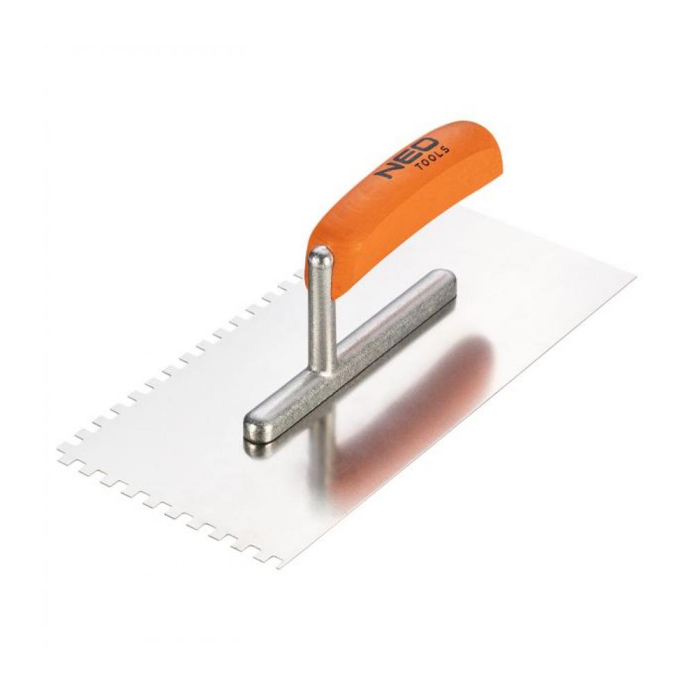 Зубчатая гладилка neo 270х128 мм зуб 6х6х6 мм деревянная ручка 50-162
