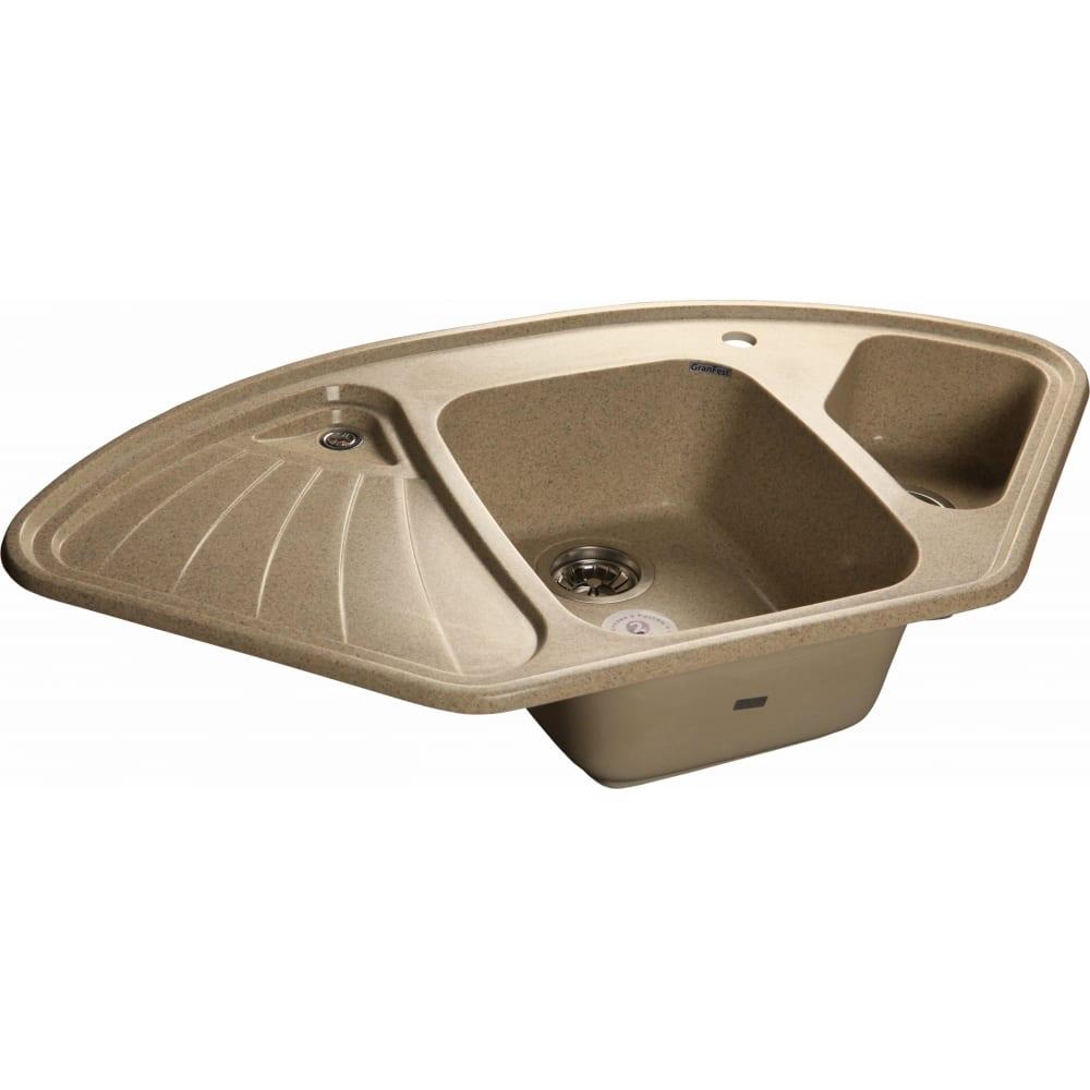 Купить Мойка granfest corner gf-c--1040e мрамор, угловая, 1039х560 мм, песочный c-1040 e пес