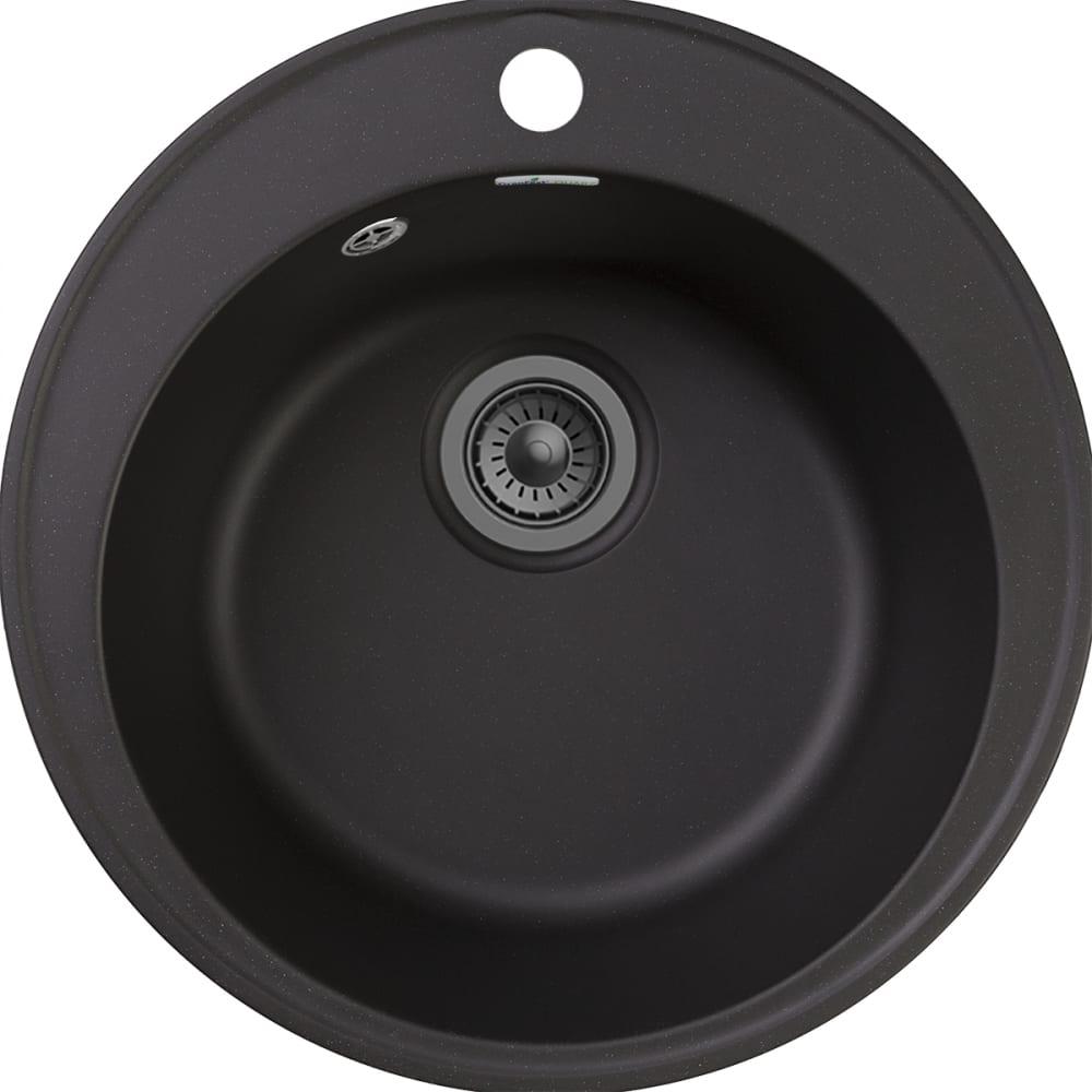 Купить Мойка granfest quarz чаша, d=480 мм, черный 08 черный