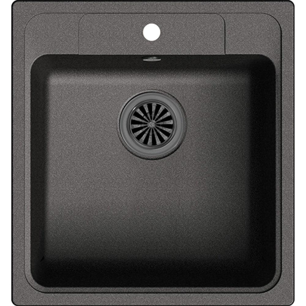 Купить Мойка ewigstein elegant 50 кварц, 1-чаша, 518х478 мм, черный e- 50 черный