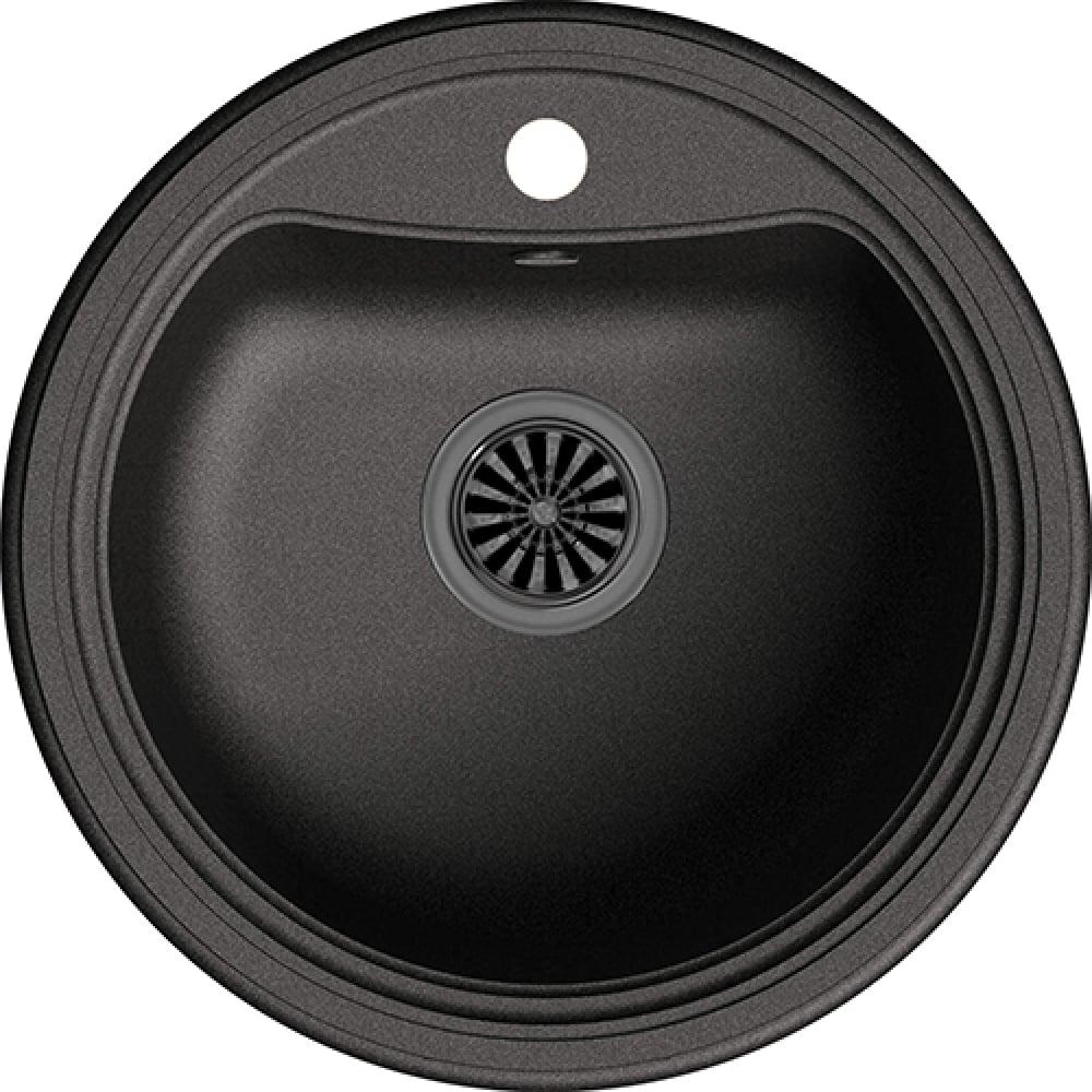Купить Мойка ewigstein antik r50 кварц, 1-чаша, d-520 мм, черный a- r50 черный
