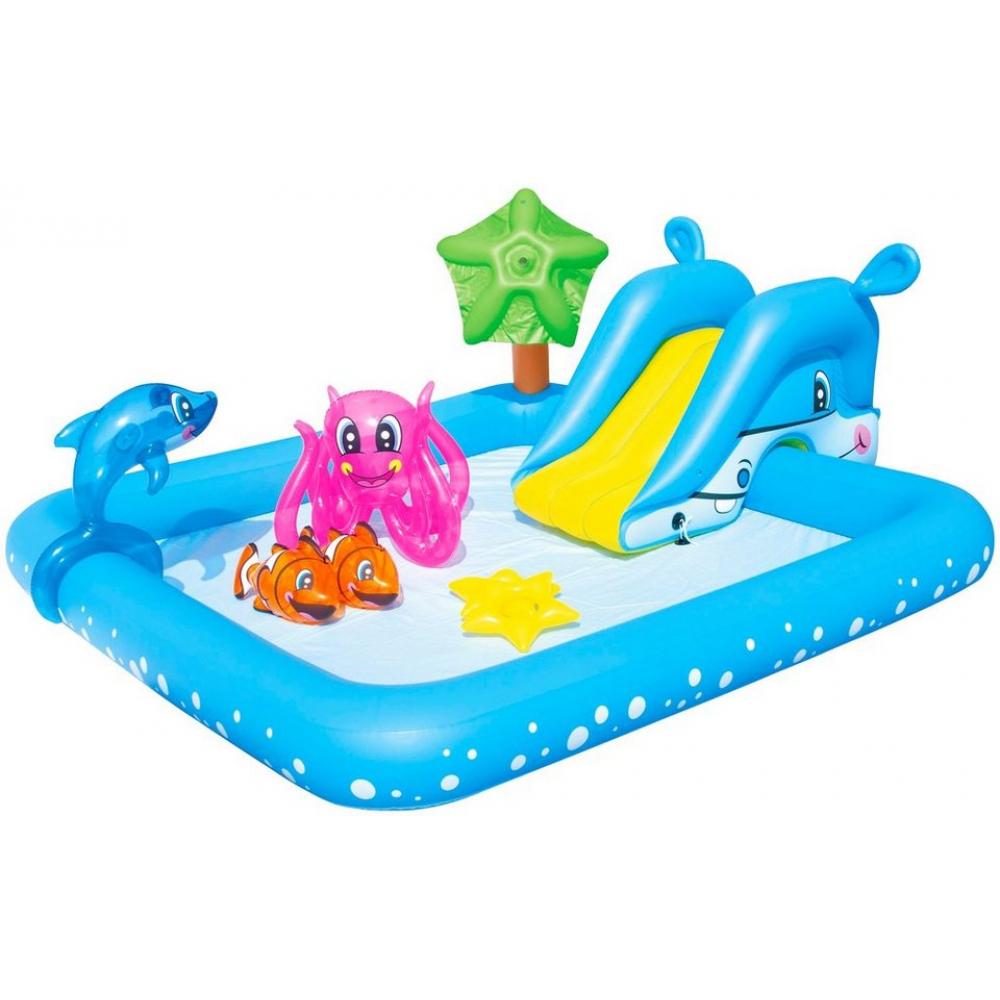 Игровой бассейн с брызгалкой и принадлежностями для игр bestway аквариум, 239х206х86 см, 308 л, 53052 bw