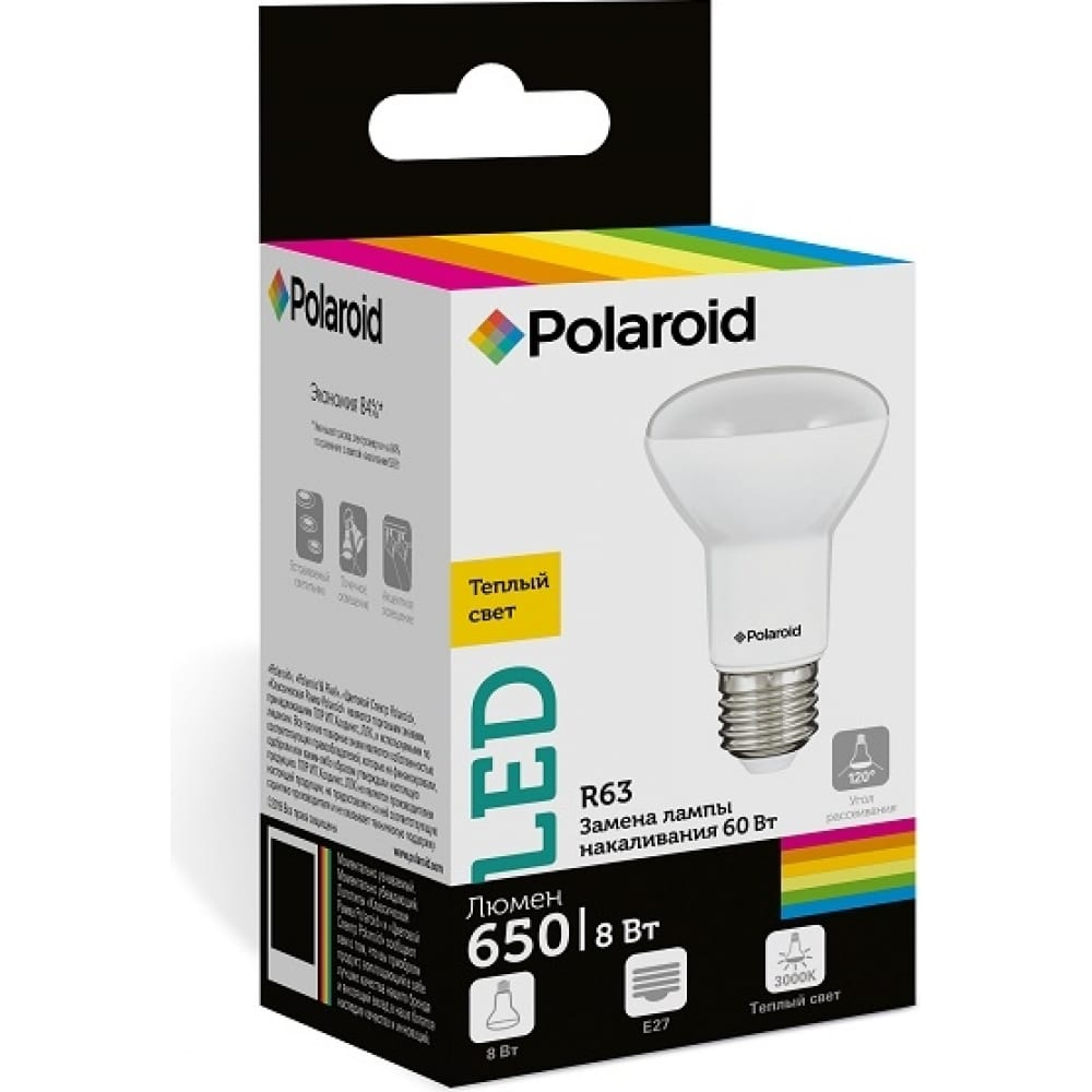 Купить Светодиодная лампа polaroid 220v r63 8w 3000k e27 650lm pl-r638273
