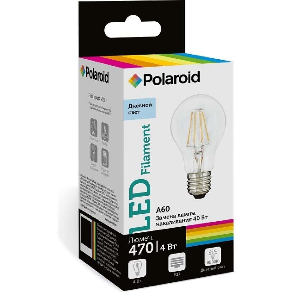 Купить Светодиодная лампа polaroid 220v fil a60 4w 6500k e27 470lm pl-a60f4276