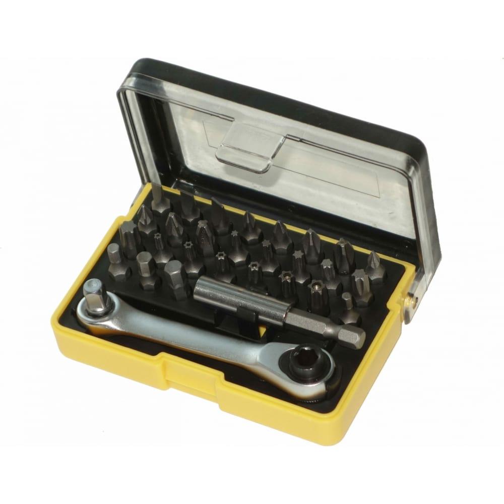 Купить Мини набор бит nikona с трещоткой, из s2 стали, с магнитным держателем, в пластиковом ящике, 30пр 27-351