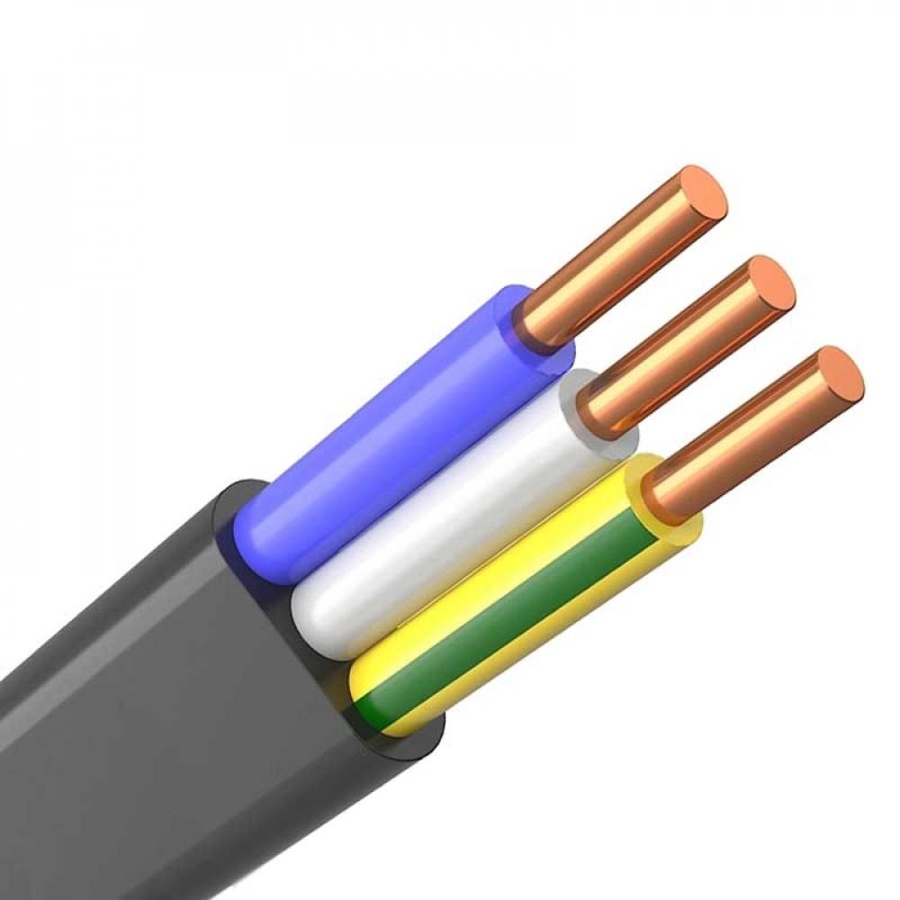 Купить Кабель экокабель ввг-пнга-ls 3x4 окn, pe-0, 66кв медь плоский кабель 100м 139614100