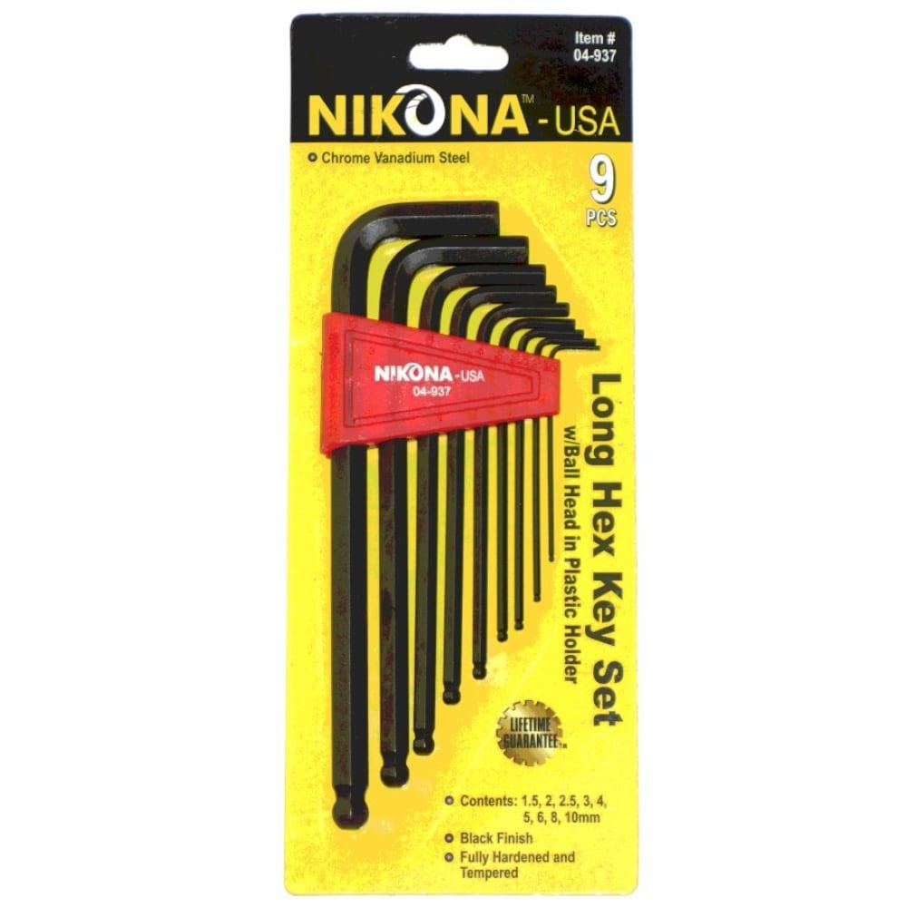 Купить Набор шестигранных ключей nikona с шаровым окончанием, 9шт, 1.5-10мм 04-937