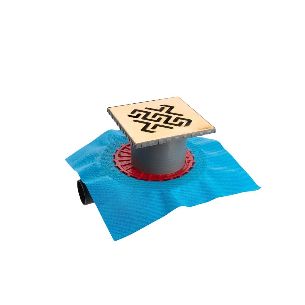 Купить Напольный трап водосток berges zentrum antik 150х150, боковой слив, d50 мм 092365