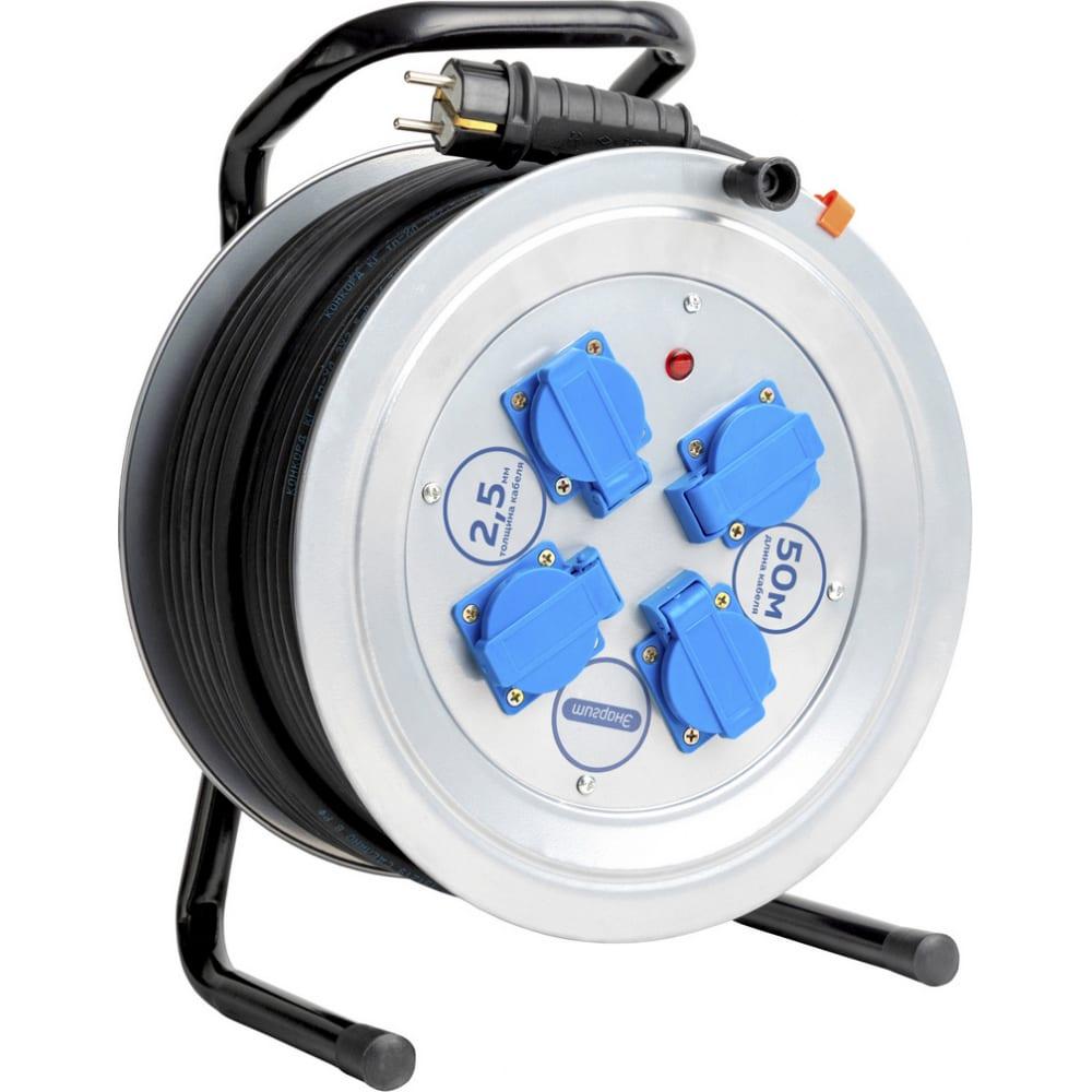 Удлинитель энаргит на металлической катушке мк1: кг 3*2,5, 50 метров, ip 44, индикатор напряжения мк1-325-50к