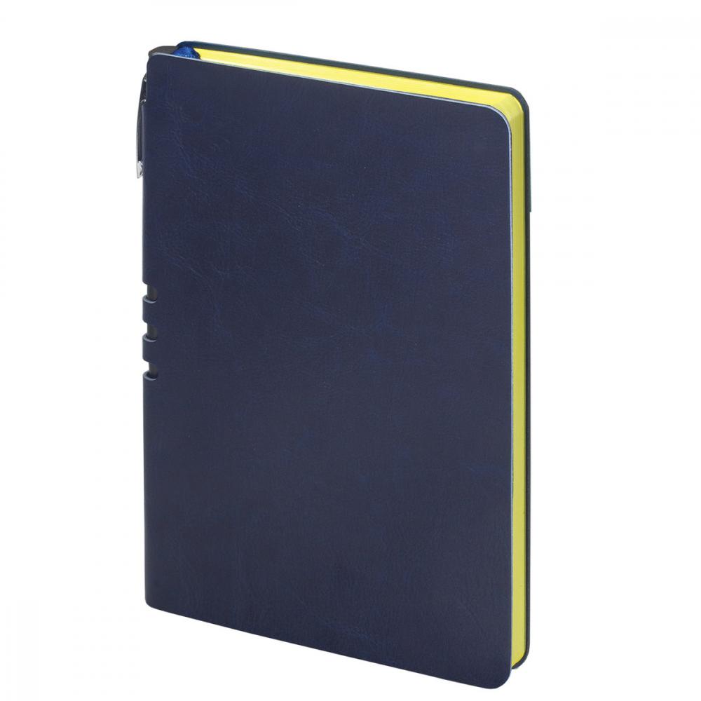 Блокнот brauberg nebraska а5 140x200 мм, 112 л, гибкий кожзам, ручка, линия, темно-синий, 110949
