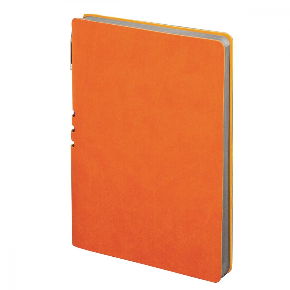 Блокнот brauberg nebraska а5 140x200 мм, 112 л, гибкий кожзам, ручка, линия, оранжевый, 110951