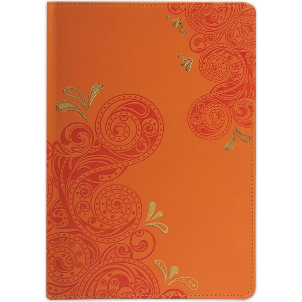 Купить Блокнот brauberg orient а5 148x218 мм, 128 л, кожзаменитель с тиснением, клетка, оранжевый, 128043
