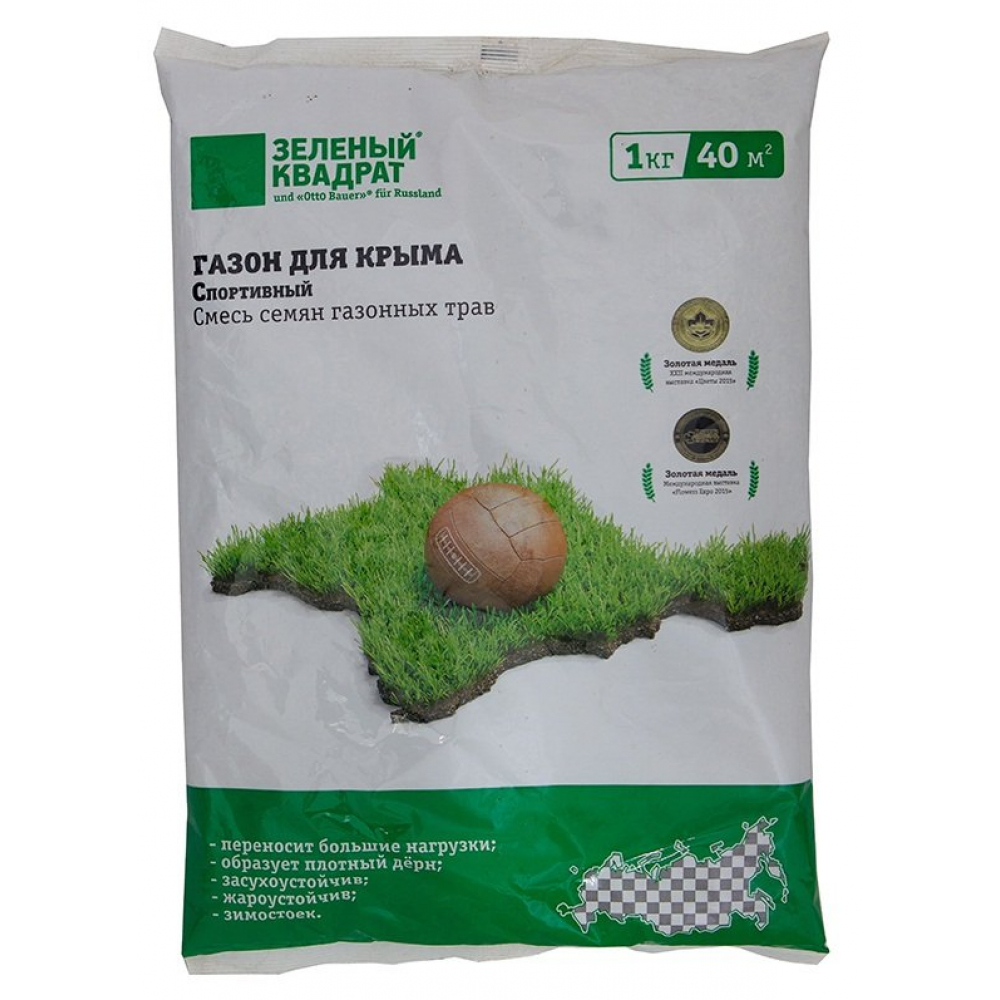 Купить Семена газона зеленый квадрат спортивный газон для крыма 1 кг 4607160332598