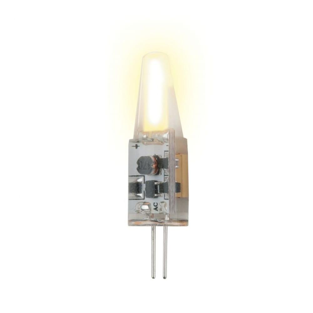 Светодиодная лампа uniel led-jc-220/2w/ww/g4/cl, siz05tr, с силиконовым покрытием ul-00000185