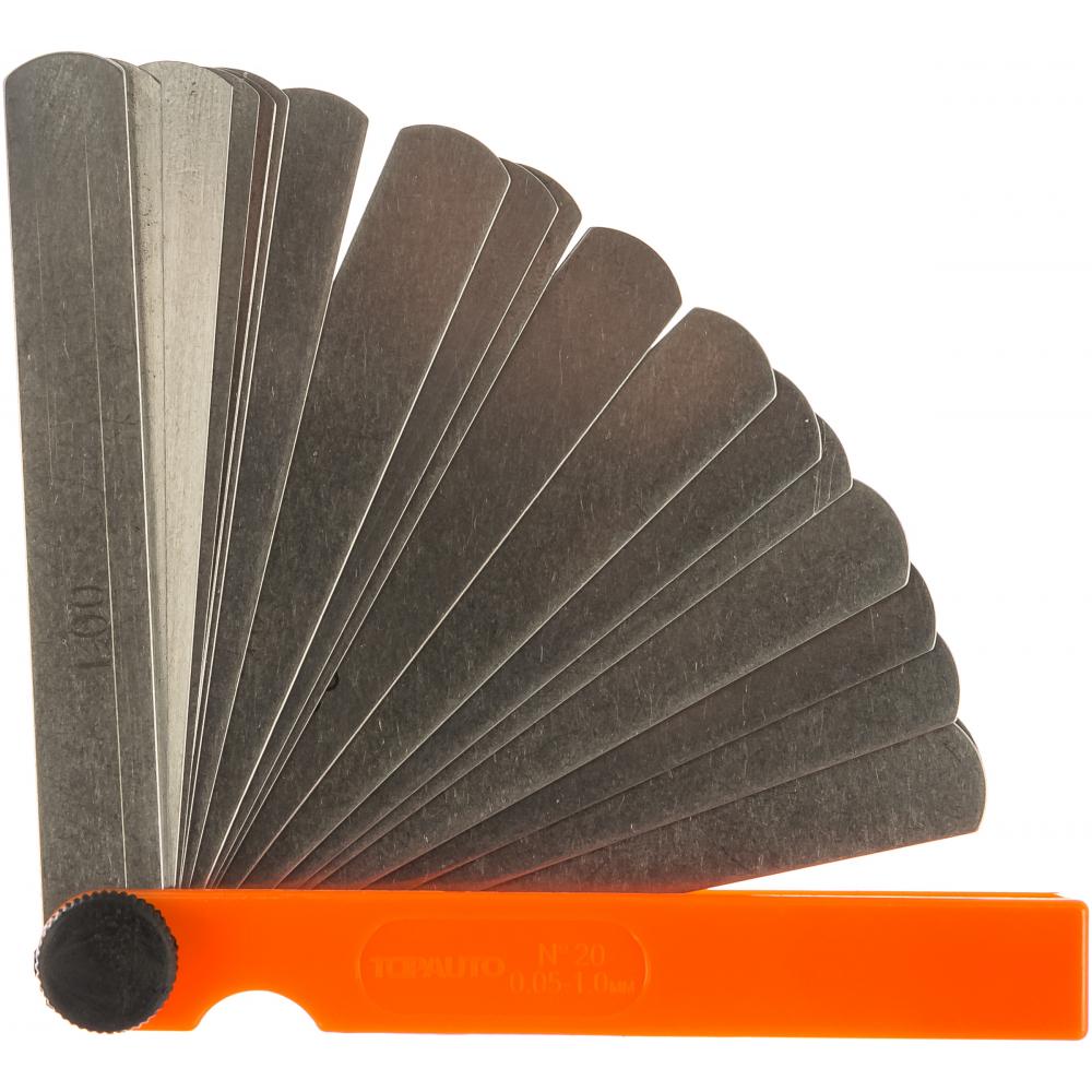 Купить Щупы для измерения зазоров topauto набор №20, 100мм, 20листов, 0.05-1.0мм, пластик, блистер ищ20100 - п