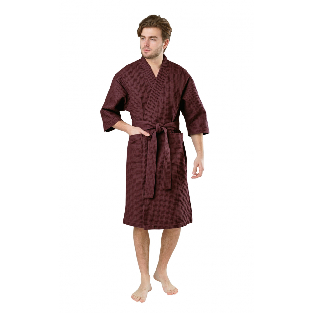 Мужской вафельный халат вотекс кимоно, размер