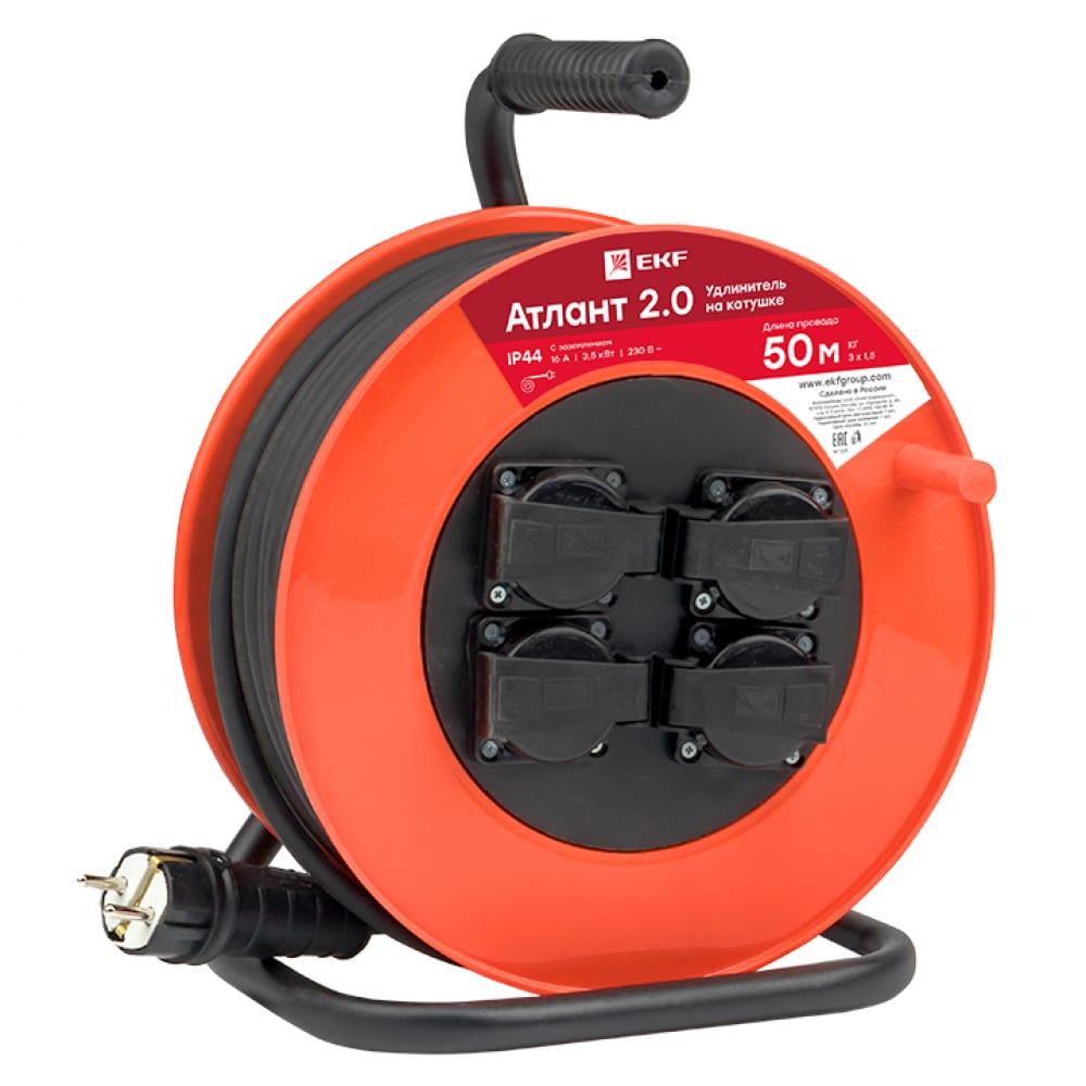 Удлинитель на катушке ekf атлант 2.0, 4гн, 50м, кг 3х1,5, 16а/3,5квт,  proxima, sq uka02-16-315r-4-50-ip44