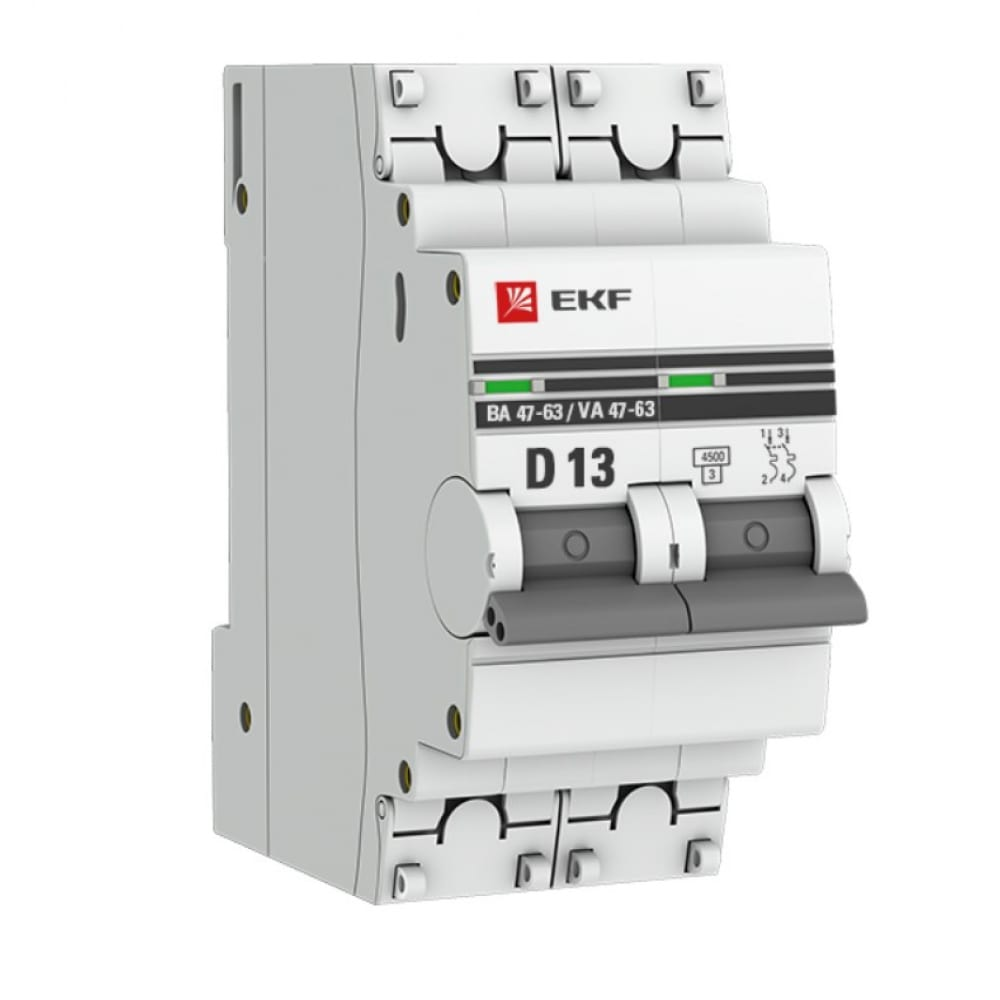 Автоматический выключатель ekf 2p 13а 4,5ka ва 47-63 proxima sqmcb4763-2-13d-pro