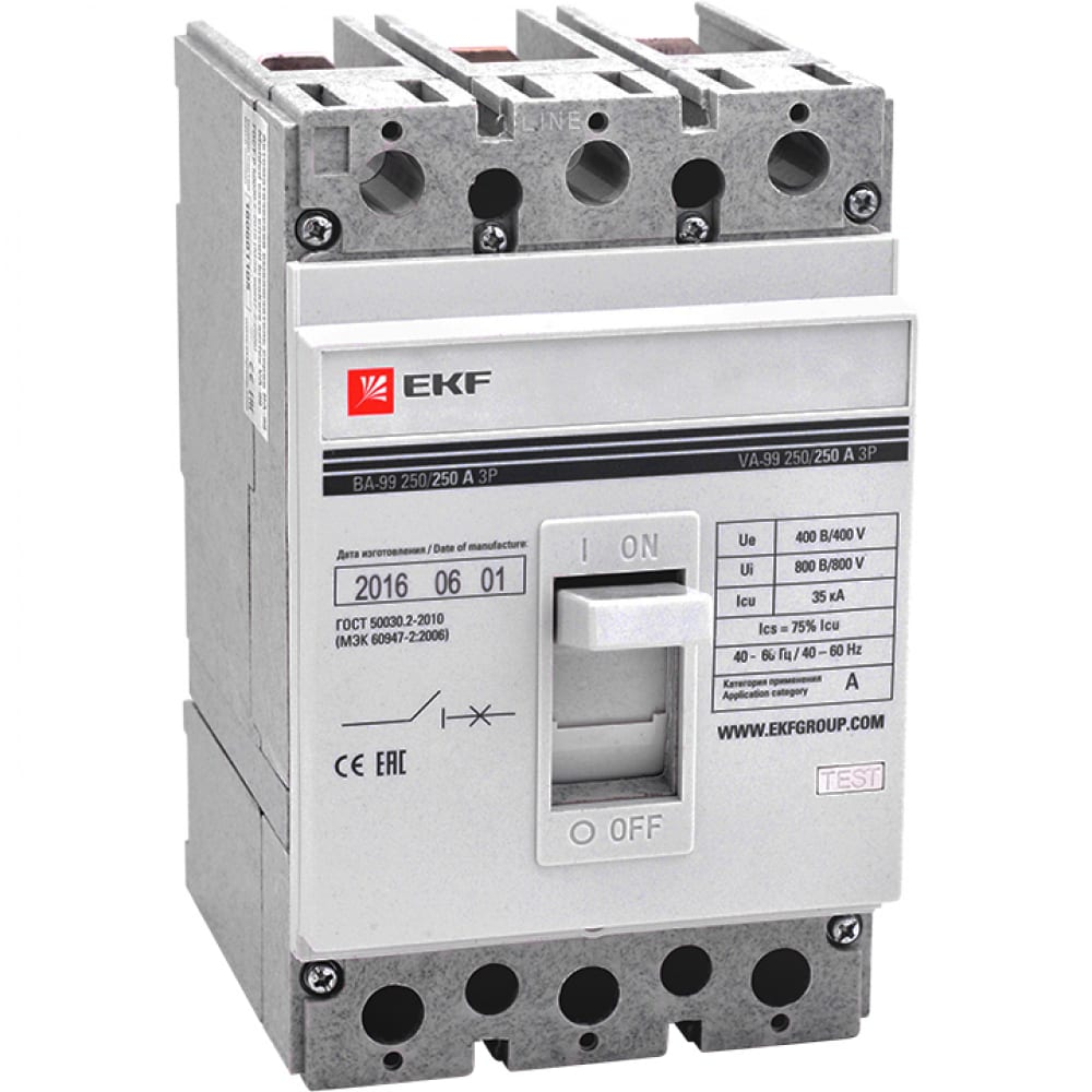 Автоматический выключатель ekf ва-99, 250/250а, 3p, 35ка, без коннекторов, proxima sqmccb99-250-250-n