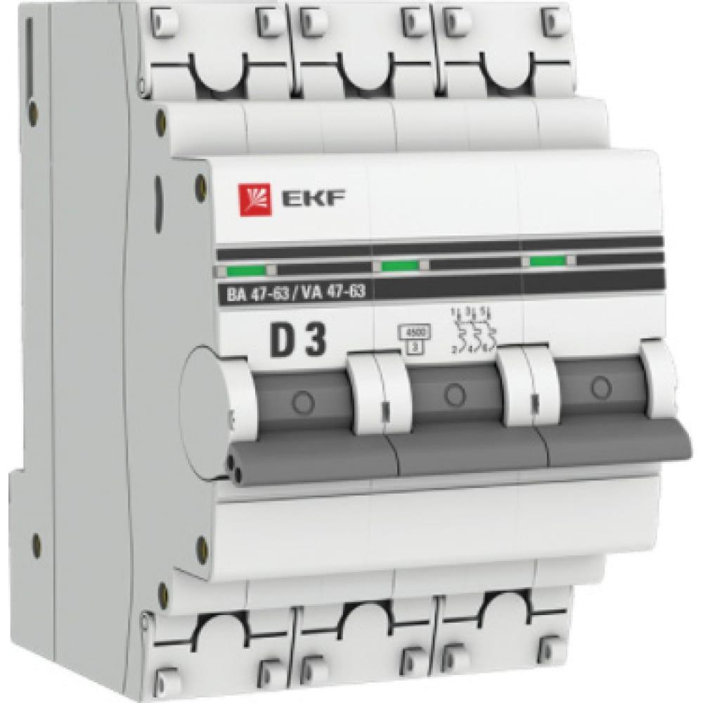 Автоматический выключатель ekf proxima ва 47-63, 3p, 3а, 4,5ka sqmcb4763-3-03d-pro