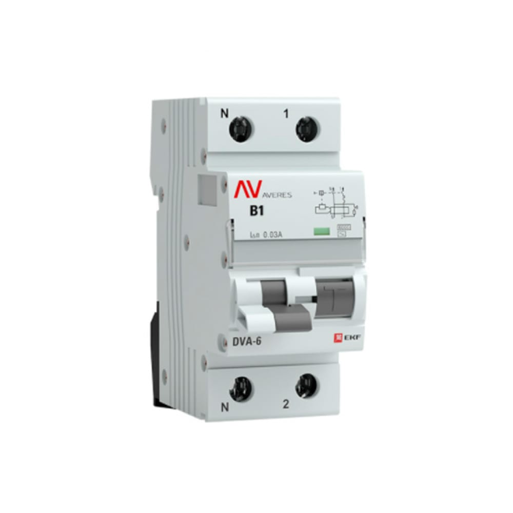 Дифференциальный автомат ekf averes dva-6, 1p+n, 1а, 30ма, 6ка sqrcbo6-1pn-1b-30-ac-av