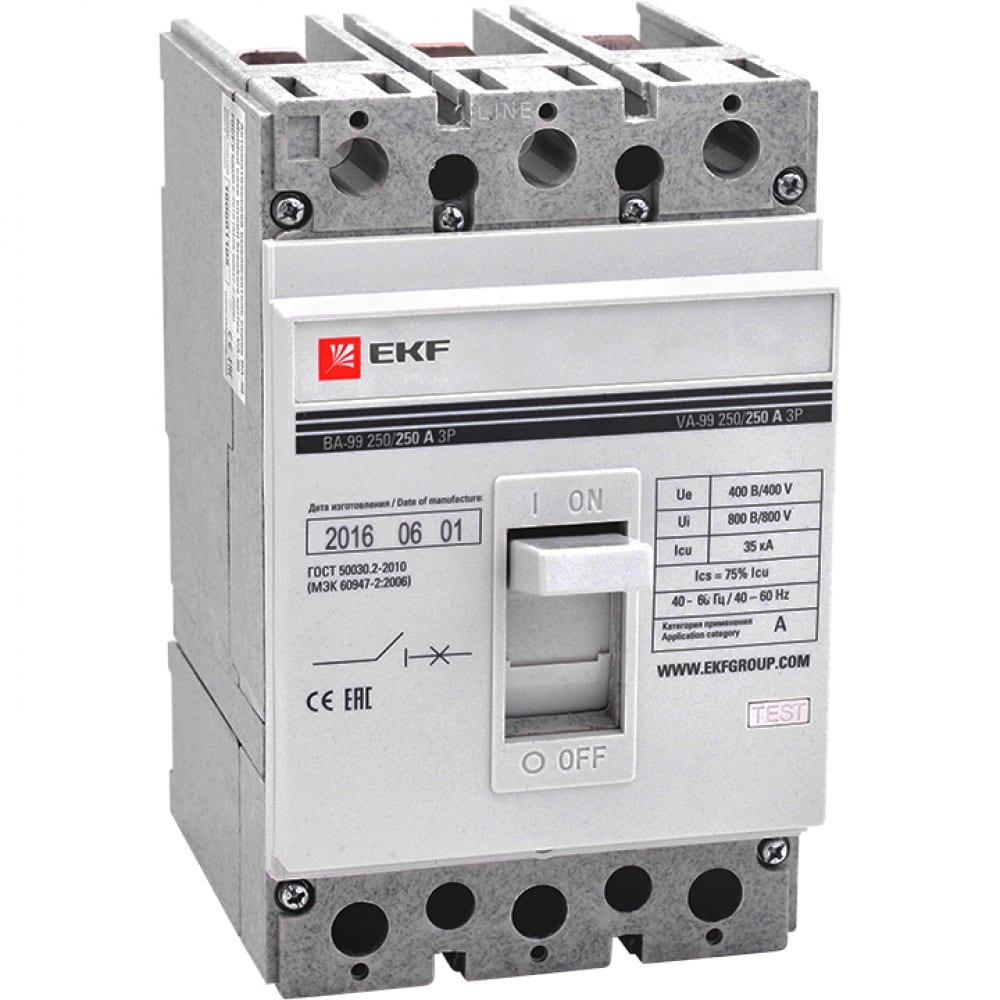 Автоматический выключатель ekf ва-99, 250/200а, 3p, 35ка, без коннекторов, proxima, sq mccb99-250-200-n