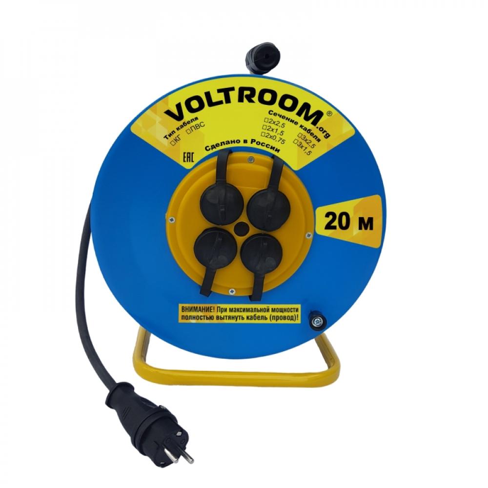 Купить Удлинитель на металлической катушке voltroom кг 2х2, 5-20 ip44 16а 220в