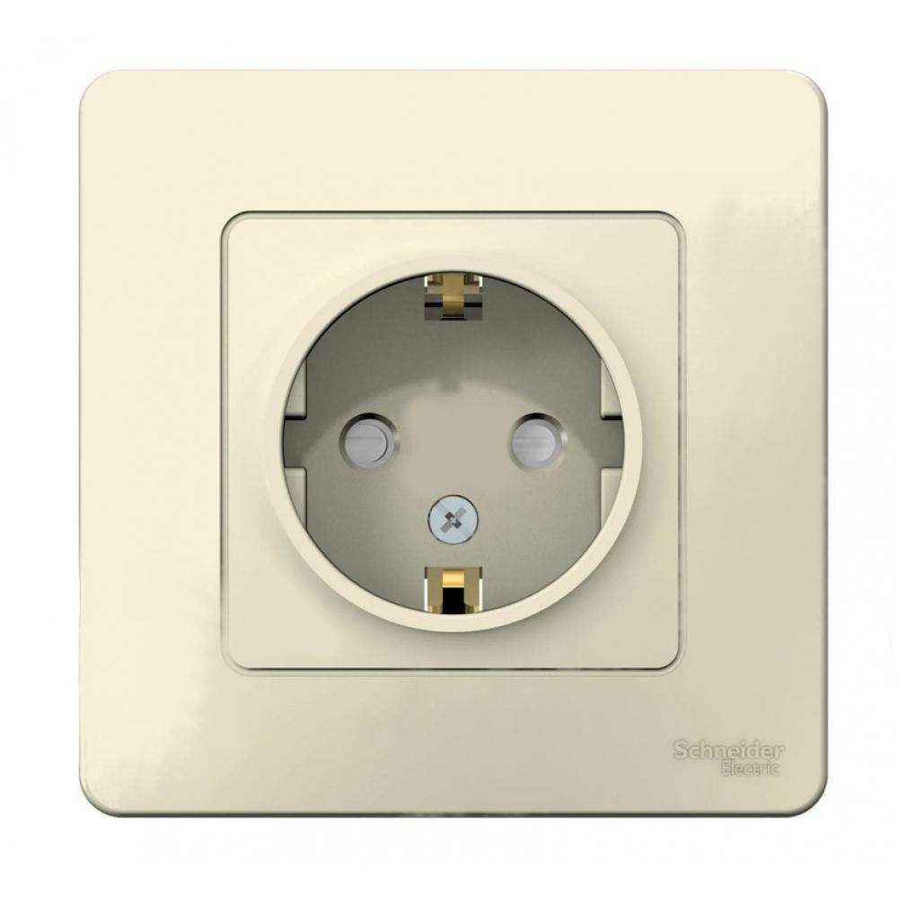 Купить Розетка schneider electric blanca с заземлением, со шторками, молочный blnrs001112