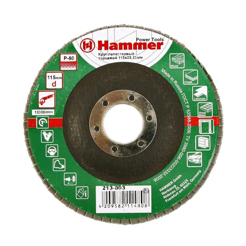 Купить Круг лепестковый торцевой клт-1 flex 213-003 (115х22 мм; р80) hammer 29429