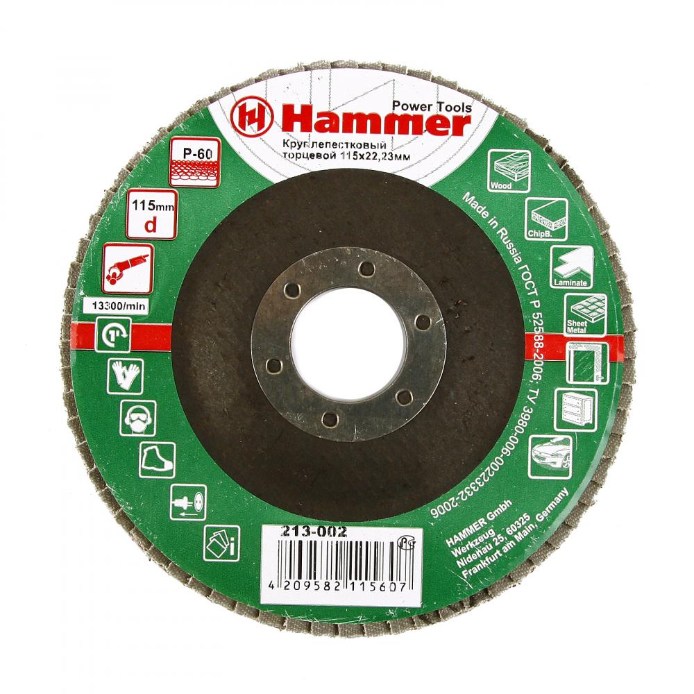Купить Круг лепестковый торцевой клт-1 flex 213-002 (115х22 мм; р60) hammer 29428