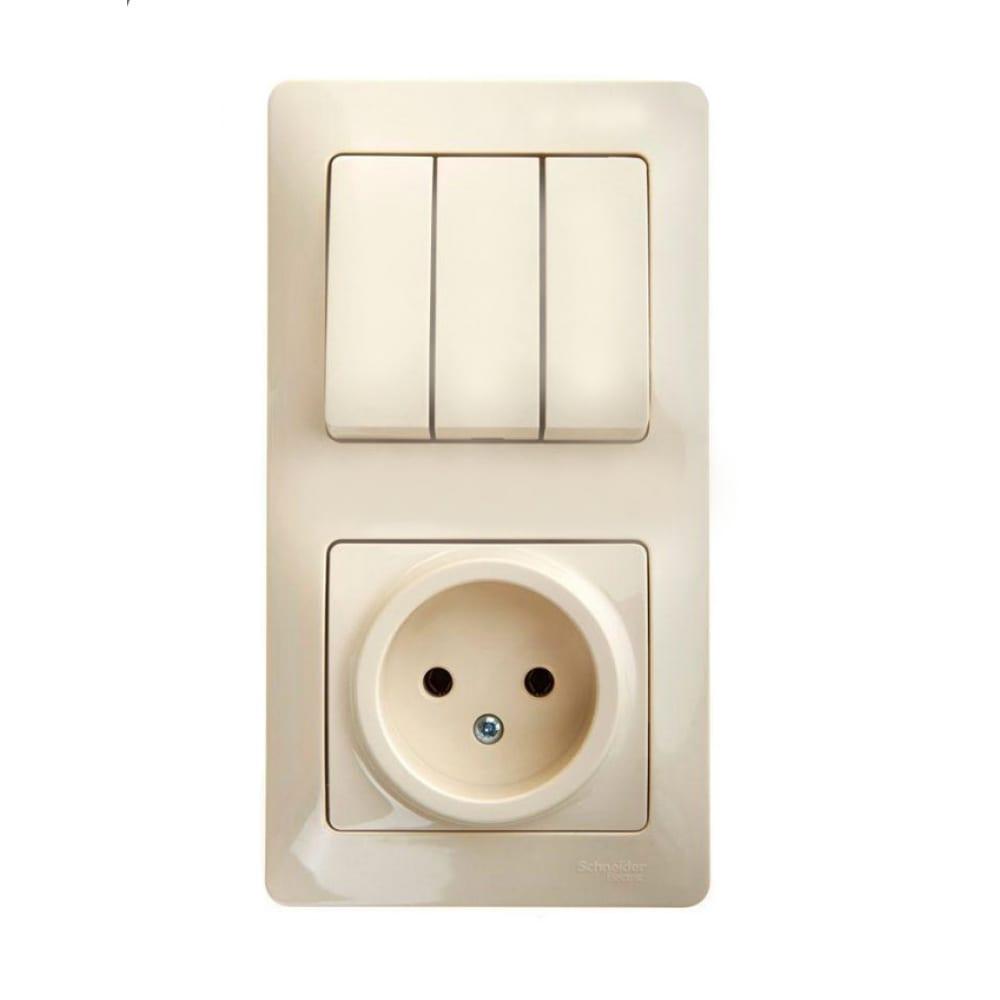 Купить Блок: розетка + 3-клавишный выключатель schneider electric glossa бежевый gsl000276