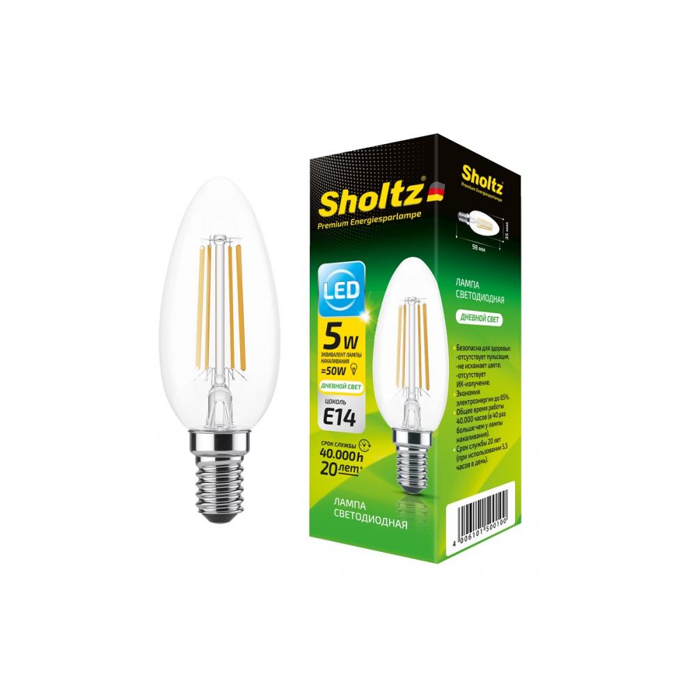Купить Светодиодная филаментная лампа sholtz свеча 5вт e14 4000к стекло foc5001