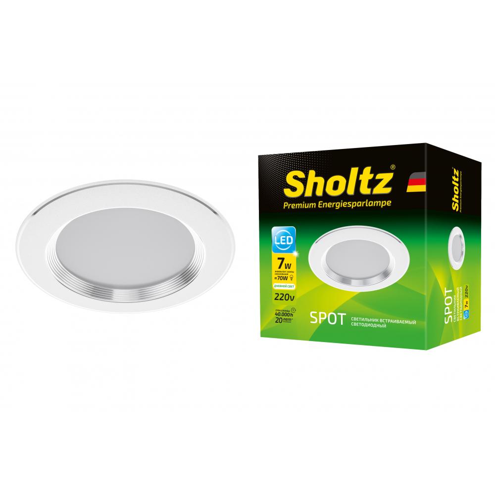Купить Светодиодный встраиваемый светильник sholtz 7вт 4200к хром диаметр 100мм los3089