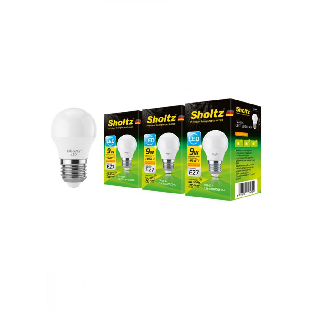 Купить Комплект из 3 светодиодных ламп sholtz шар 9вт e27 2700к 220в пластик leb3027t