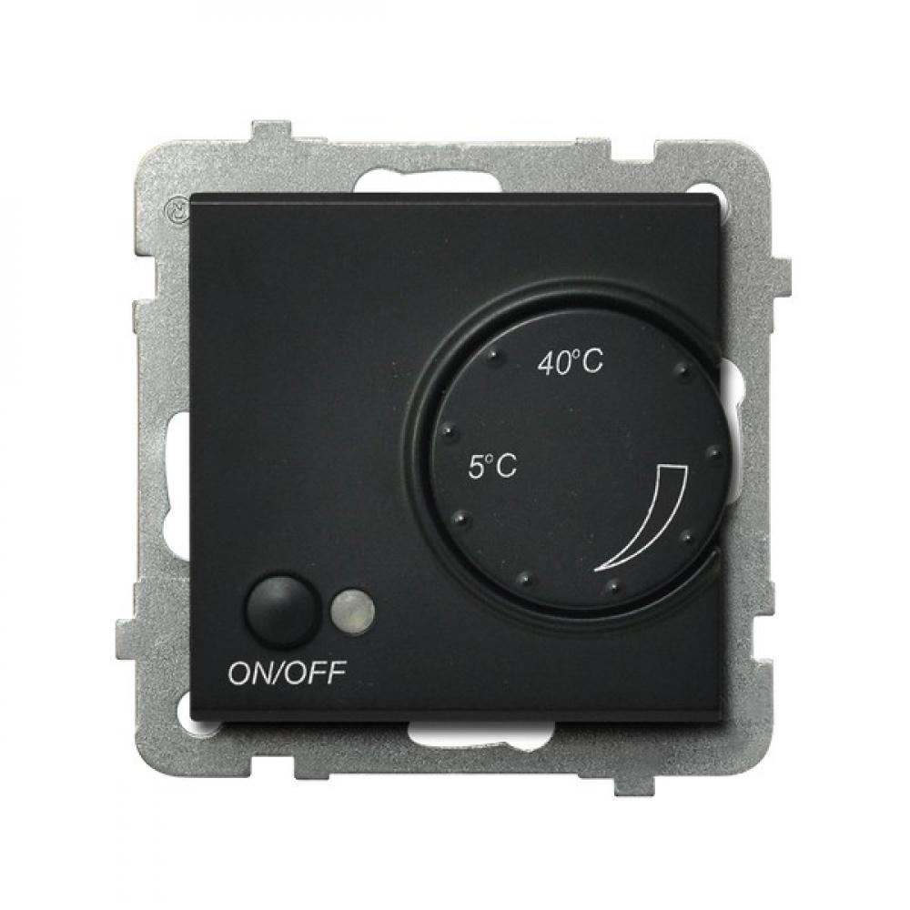 Купить Регулятор черный металлик с датчиком sonata для теплого пола ospel rtp-1r/m/33