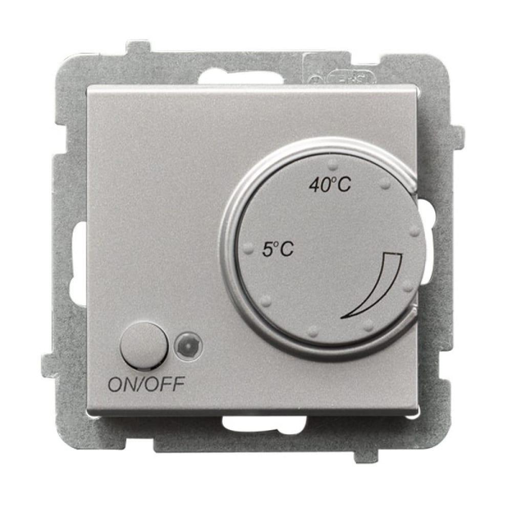 Купить Терморегулятор серебряный матовый с наружным датчиком sonata ospel rtp-1rn/m/38