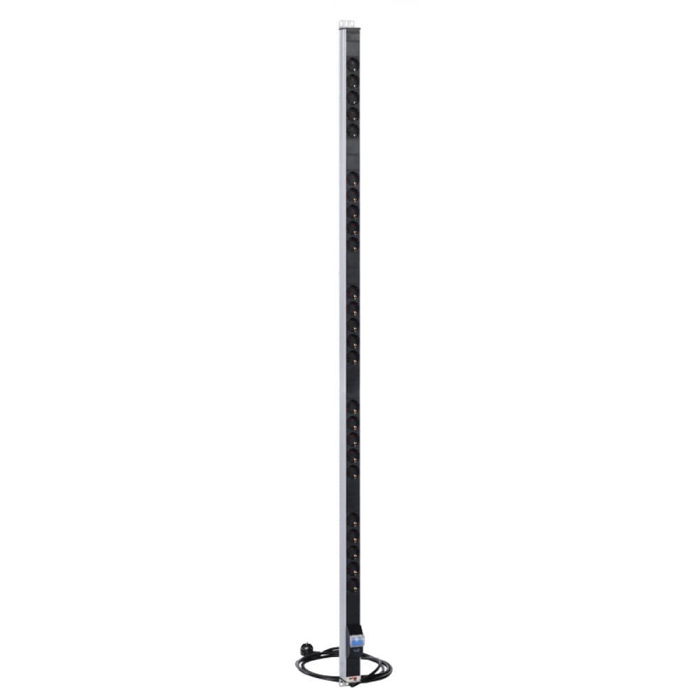 Купить Вертикальный блок розеток цмо rem-16 с автоматом, 16а, 25 schuko, 16a, алюминий, шнур 3 м r-16-25s-a-1820-3