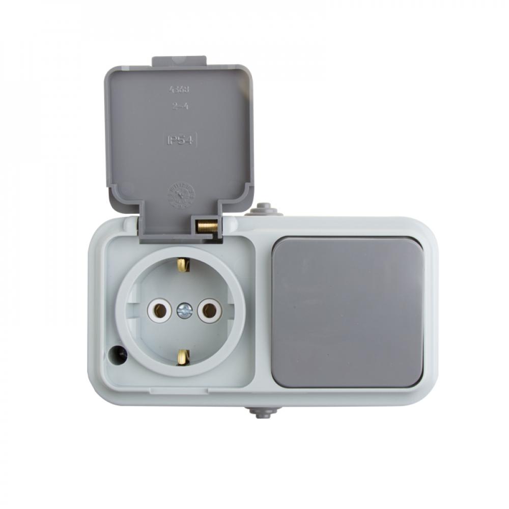 Одноклавишный выключатель + розетка rexant ip54 выключатель 10 а розетка с/з 16 а 78-0529