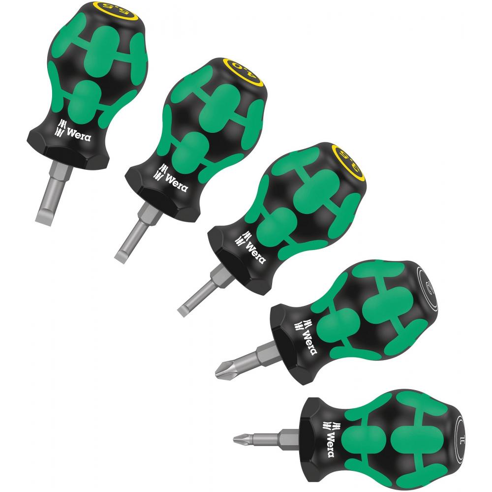 Набор коротких отверток wera stubby set 2 sl3.5/4/5.5, pz1/2 x 25 мм we-008871