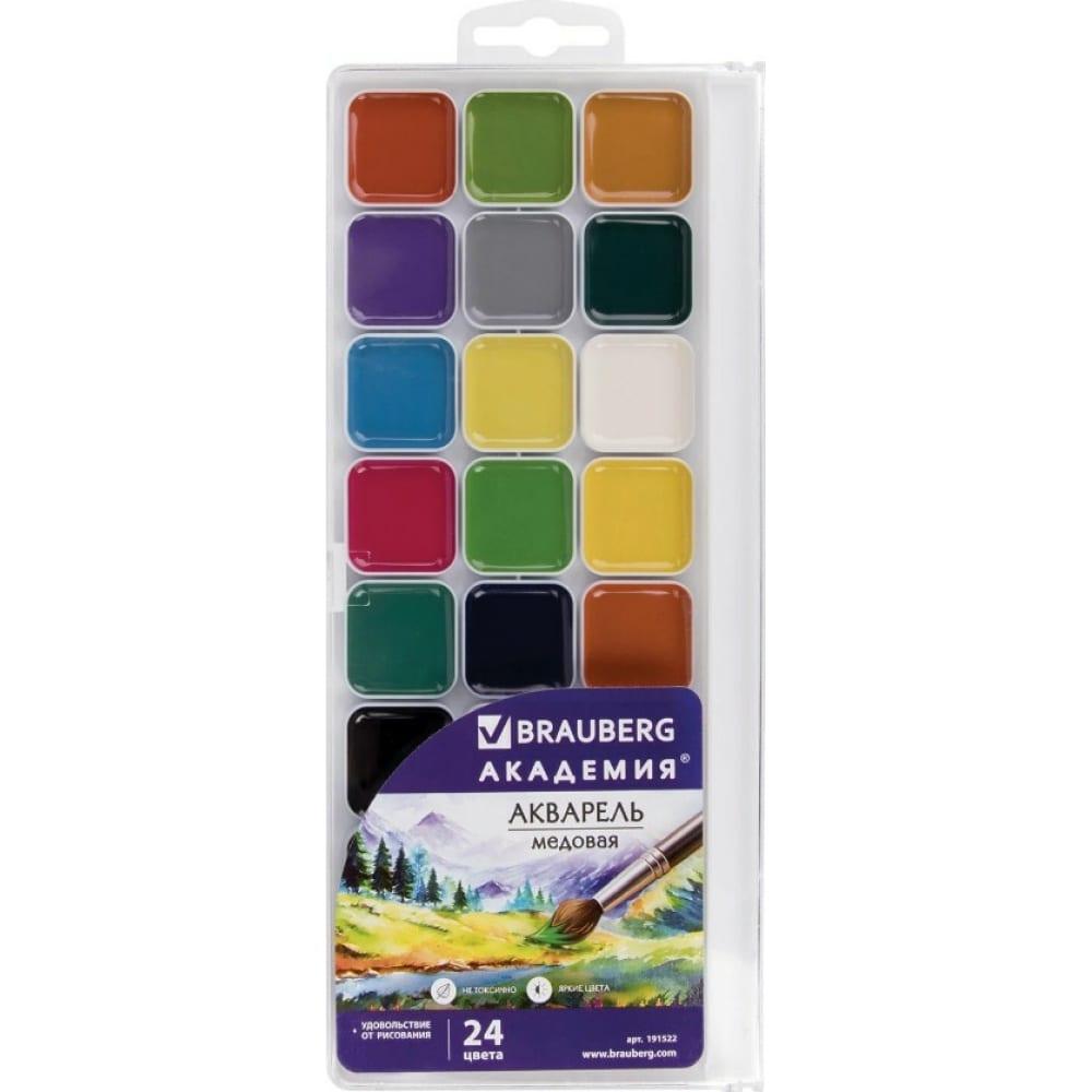Медовые акварельные краски brauberg академия, 24 цвета 191522