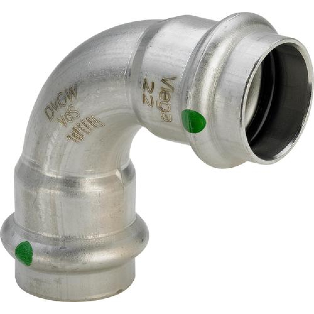 Купить Отвод viega вв 90 sanpress inox, с sc-contur, нержавеющая сталь, 35 мм 435677