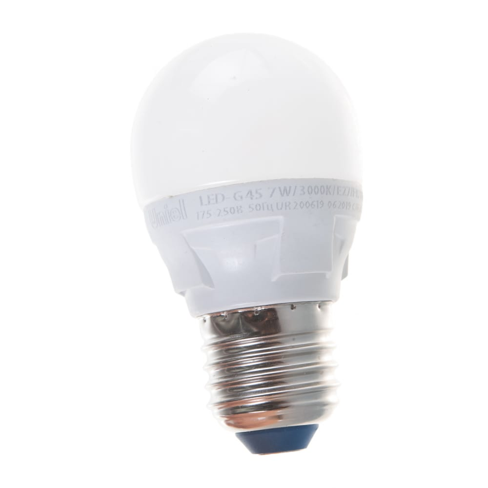 Лампа uniel led-g45, 7w/3000k/e27/fr/dim, plp01wh, светодиодная, диммируемая ul-00004303