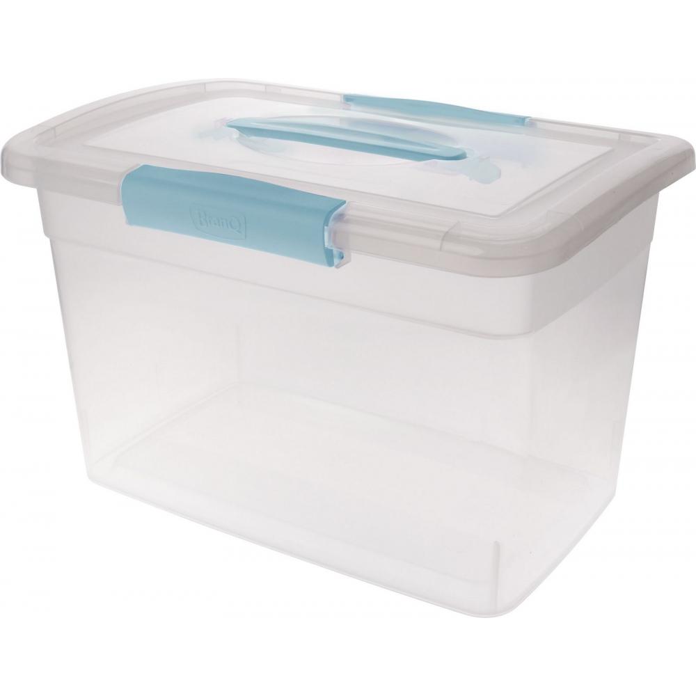 Купить Ящик дляхранения branq laconic с защелками и ручкой, 14 л, небесный, прозрачный bq2525нбспр