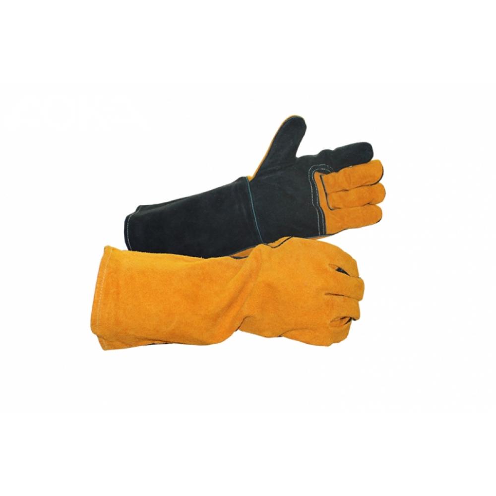 Купить Удлиненные спилковые краги с усилением ладони дока, цвет желтый/черный, ав, кевлар rx4018, 16