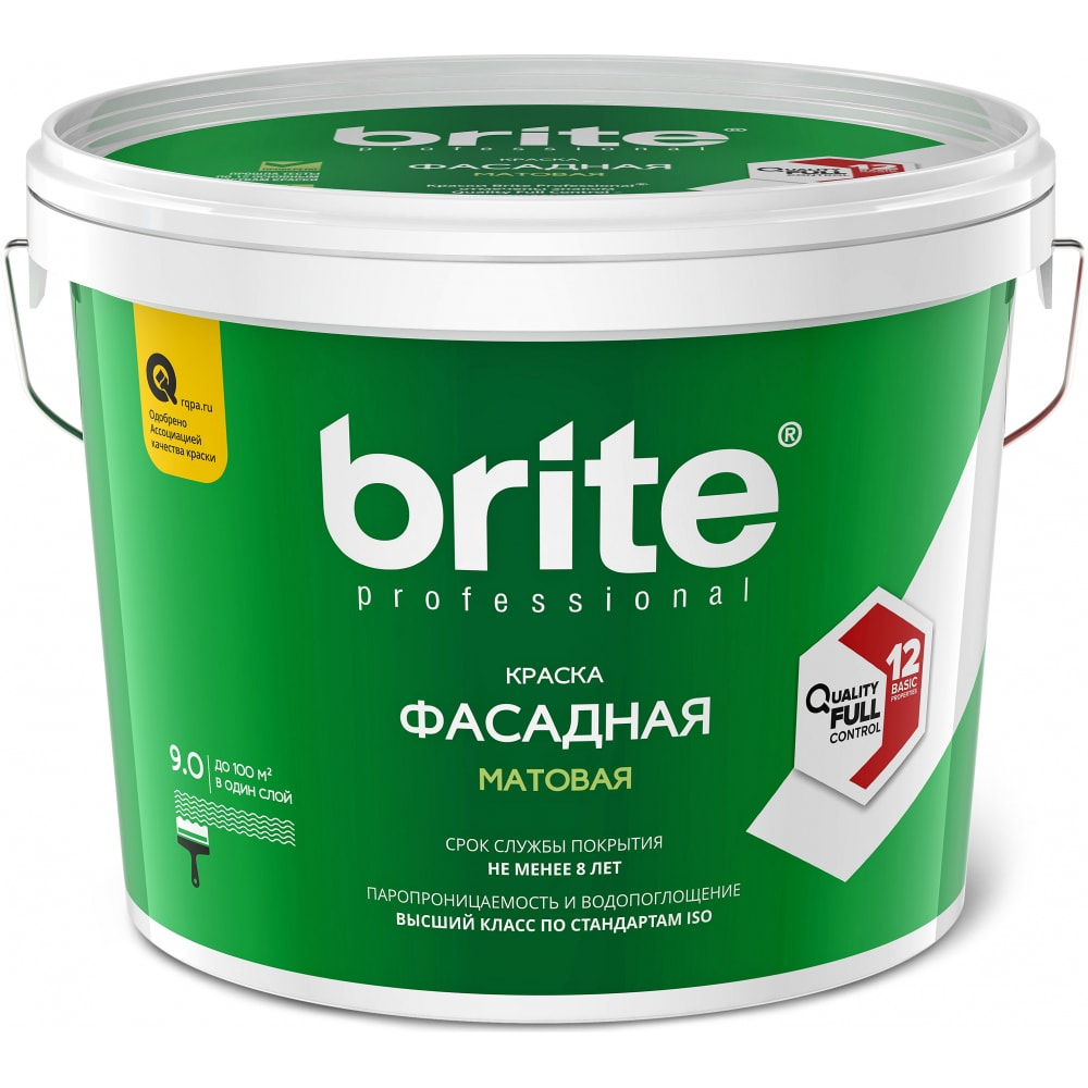 Купить Фасадная краска brite professional белая, матовая, база а, ведро 9л о02235
